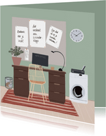 Bedankkaartje thuiswerken complimenten op prikbord