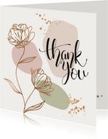 Bedankkaartjes - Bloemen in goud look met confetti