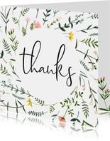 Bedankkaartjes | Thanks, wilde vrolijke bloemen