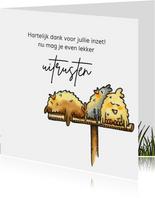 Bedankkaartjes uitgeputte kippen op stok