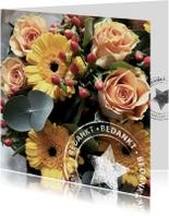bedankt bloemen kaart