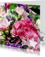 Bedankt bloemen met stempel