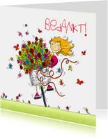 Bedankkaartjes - Bedankt bos bloemen op fiets
