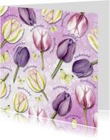 Bedankt met tulpen en vlinders