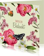 Bedanktkaart vrolijk bloemenparadijs