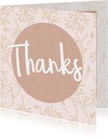 Bedanktkaartjes, Thanks roze bloemen