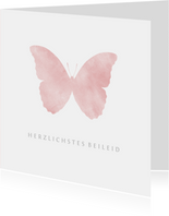 Beileidskarte rosa Schmetterling