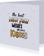 Best new year wishes - text and gold - nieuwjaarskaart