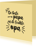 Beste papa en leukste opa - black and colour - vaderdagkaart