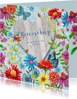 Beterschap Bloemen Hout hart vlinders