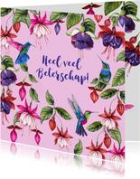 Beterschap fuchsiabloemen kolibrievogeltjes