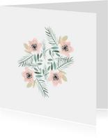 Beterschap kaart met bloemen aquarel - natuur