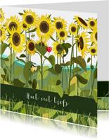 Beterschap - zonnebloemen en een pimpelmeesje