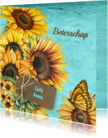 Beterschap zonnebloemen label