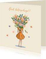 Beterschapkaart meisje met bos bloemen