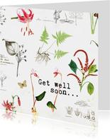 Beterschapkaart met botanische bloemenprint