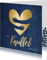 Beterschapskaart blauwe kaart met gouden hart knuffel