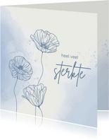 Beterschapskaart - Bloemen met vlinder in blauw