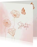 Beterschapskaart - Bloemen met vlinder in roze
