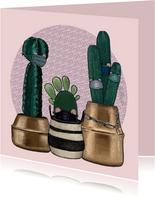 Beterschapskaart cactussen met mondkapjes in quarantaine