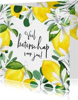 Beterschapskaart citroenen en botanische bladeren