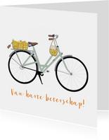 Beterschapskaart fiets met mandje sinaasappels