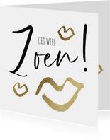 Beterschapskaart 'Get well Zoen!' met gouden kusjes