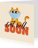Beterschapskaart grappig kat cat well soon