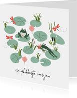 Beterschapskaart kikker geeft bloemen