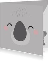 Beterschapskaart kind met het gezicht van een koala