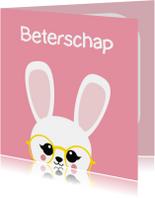 Beterschapskaart konijn met bril