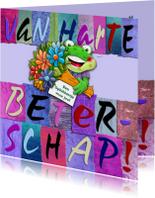 Beterschapskaart  letters en opkikkertje met bloemen