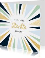Beterschapskaart met abstracte zonnestralen en goud