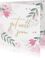 Beterschapskaart met bloemen, takjes, hartjes en waterverf