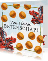 Beterschapskaart met boeren zakdoek en sinaasappels