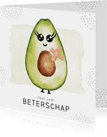 Beterschapskaart met gezonde avocado met pleisters