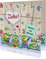 Beterschapskaart met opkikkertjes en bloemetjes