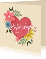Beterschapskaart met roze hart, planten en bloemen