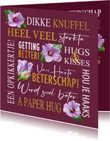 Beterschapskaart met teksten, bloemen en gouden accenten