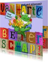 Beterschapskaart  opkikker met letters en bloemen