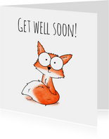 Beterschapskaart vosje - Get well soon