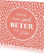 Beterschapskaart vrouw stippen en typografie algemeen