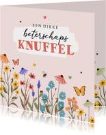 Beterschapskaart wilde bloemen kleurrijk hartjes