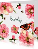 Beterschapskaart Zachte bloemen met vlinder