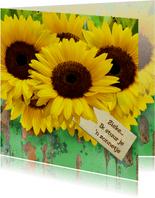 Beterschapskaart Zonnebloemen met hout en beterschap