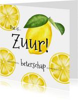 Beterschapskaart 'Zuur' met geïllustreerde citroenen