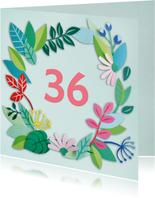Blaadjes en bloemen leeftijdkaart