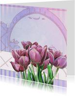 Blanco Kaart Met Tulpen