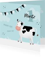 Blaue Glückwunschkarte Kindergeburtstag freundliche Kuh