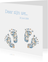 Blauw geboortekaart tweeling voetjes jongens